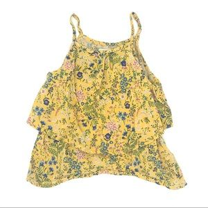 Old Navy Girls Yellow Floral Tank Size 5 (XS)